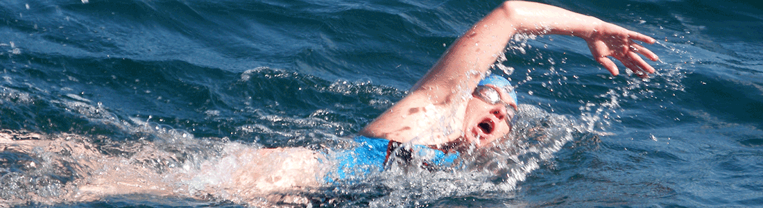 Kim Owen during Channel swim